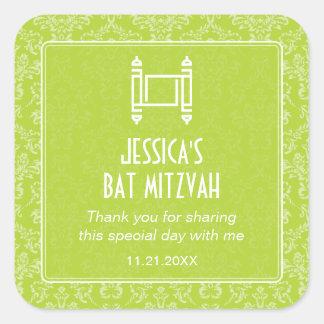 Lime Green Damask Torah Bat Mitzvah Square Sticker