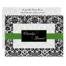 lime green damask wedding invitation