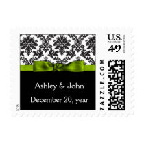 lime green damask wedding postage