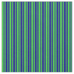 [ Thumbnail: Lime Green & Dark Blue Lined/Striped Pattern Fabric ]