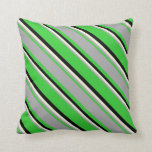 [ Thumbnail: Lime Green, Dark Grey, Beige & Black Pattern Throw Pillow ]