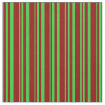 [ Thumbnail: Lime Green & Dark Red Lined/Striped Pattern Fabric ]
