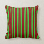 [ Thumbnail: Lime Green & Dark Red Lined/Striped Pattern Pillow ]