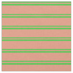 [ Thumbnail: Lime Green & Dark Salmon Pattern Fabric ]