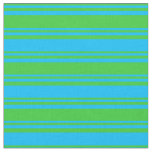 [ Thumbnail: Lime Green & Deep Sky Blue Stripes Fabric ]