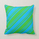 [ Thumbnail: Lime Green & Deep Sky Blue Stripes Throw Pillow ]