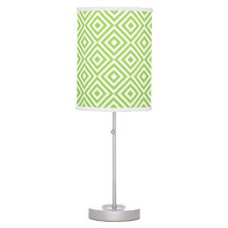 Lime green diamond pattern lamps