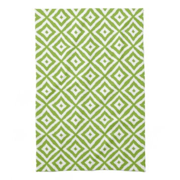 CozyLivin Lime Green Diamond Squares Ikat Mosaic Pattern Hand Towel