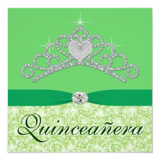 Lime Green Diamond Tiara Green Quincenera 5.25x5.25 Square Paper Invitation Card