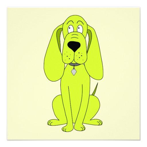Lime Green Dog. Cute Hound Cartoon. Invitation