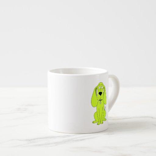 Lime Green Dog. Cute Hound Cartoon. Espresso Cups