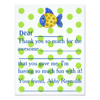 Lime Green Dots with Blue Fish Fill In Thank You Card