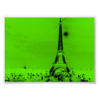 Lime Green Eiffel Tower Poster