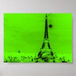 Lime Green Eiffel Tower Print