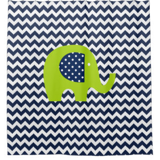 lime green elephant on navy and white chevron shower curtain