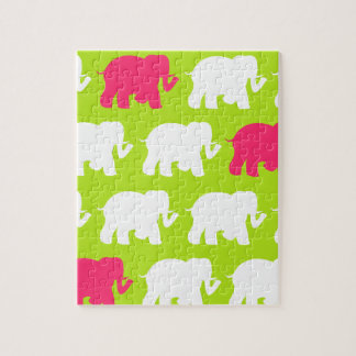 Lime green elephants design jigsaw puzzle