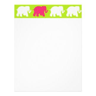 Lime green elephants design letterhead