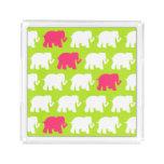 Lime green elephants tray