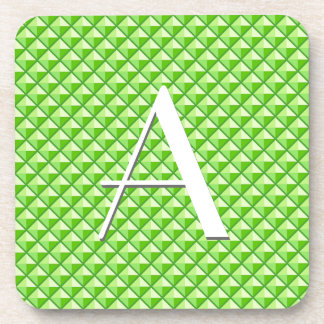 Lime green, enamel look, studded grid drink coaster