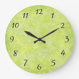 Lime Green Fairy Dust Bokeh Large Clock