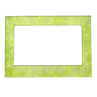 Lime Green Fairy Dust Bokeh Magnetic Picture Frame