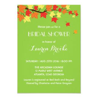 Lime Green Falling Maple Leaves Autumn Invitation