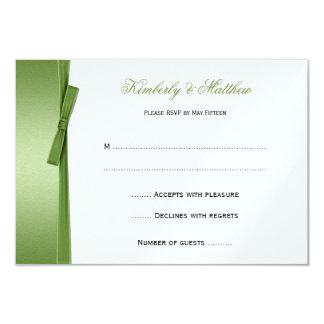 Lime Green FAUX Ribbon Bow RSVP Card