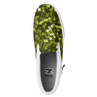 Lime Green Faux Sequin Slip On Sneakers