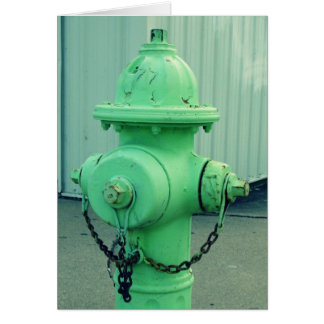 Lime Green Fire Hydrant Greeting Card