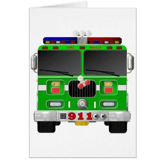 Lime Green Fire Truck Card
