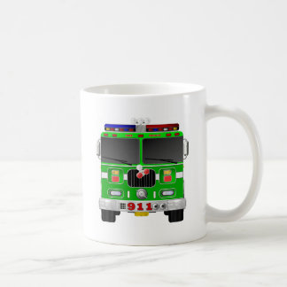 Lime Green Fire Truck Coffee Mug