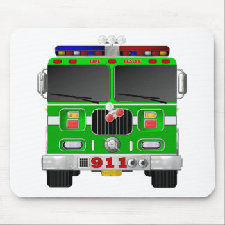 Lime Green Fire Truck Mouse Pad