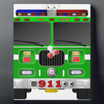 """Lime Green Fire Truck Plaque<br><div class=""""desc"""">Lime Green Fire Truck</div>"""