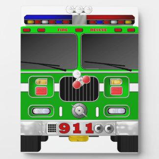 Lime Green Fire Truck Plaque