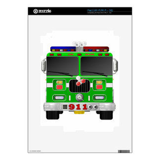 Lime Green Fire Truck Skin For iPad 2