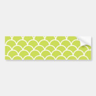Lime green fish scale pattern car bumper sticker