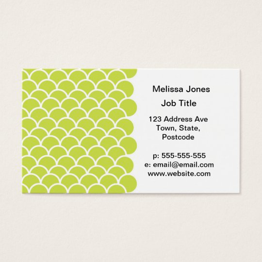 Lime green fish scale pattern business card