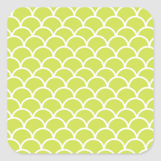 Lime green fish scale pattern square stickers