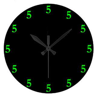 Lime Green Five o'Clock Somewhere on Black Large Clock