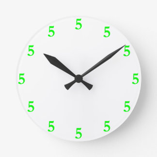 Lime Green Five o'Clock Somewhere on White Round Clock