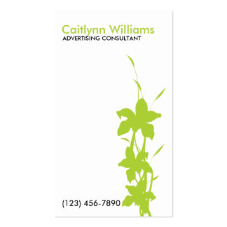 Lime Green Floral Business Card