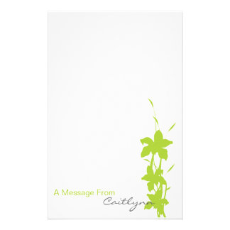 Lime Green Floral Note Paper