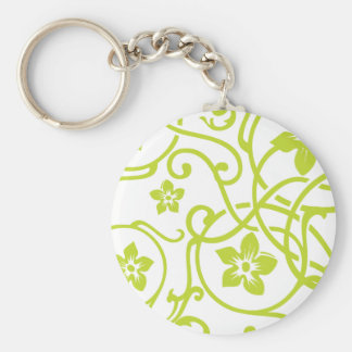 Lime Green Floral Scroll Design Keychain