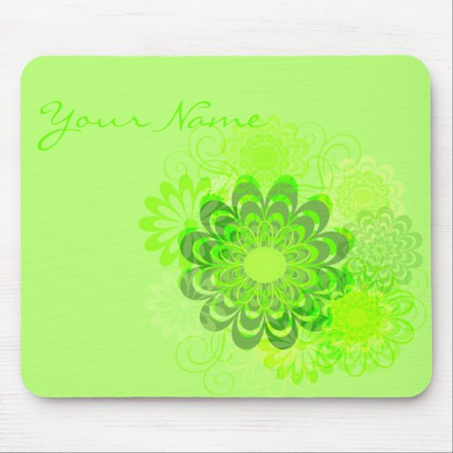 Lime Green Floral Swirl Mousepad