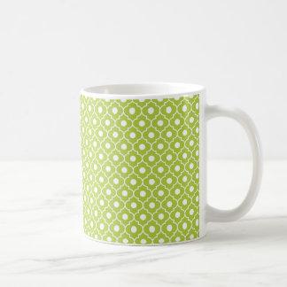 Lime Green Flower Argyle Pattern Coffee Mug