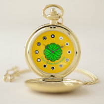 Lime Green Flower Ribbon (Bf) by K Yoncich Pocket Watch