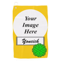 Lime Green Flower Ribbon by Kenneth Yoncich Golf Towel