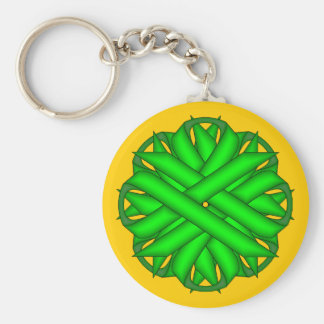 Lime Green Flower Ribbon by Kenneth Yoncich Keychain