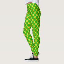 Lime Green Flower Ribbon by Kenneth Yoncich Leggings