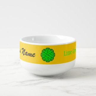 Lime Green Flower Ribbon by Kenneth Yoncich Soup Mug